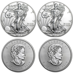 Lot of 4 Silver Coins - 2017 American Eagles & Canadian Maples