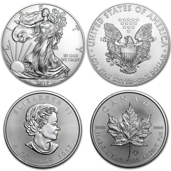 2017 American Eagle & Canadian Maple Leaf Silver 2 Coin Combo