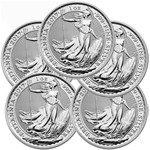 Lot of 5 - 2017 1 oz Silver Britannia Coin BU
