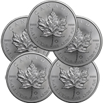 Lot of 5 - 2017 1 oz Canadian Silver Maple Leaf Coin 9999 Silver