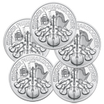 Lot of 5 - 2017 1 oz Austrian Silver Philharmonic Coins
