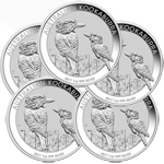 Lot of 5 - 2017 1 oz Silver Australian Kookaburra BU