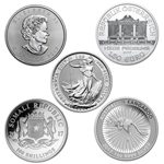 Lot of 5 - 2017 1 oz Silver Coins From Around The World BU