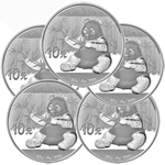 Lot of 5 - 2017 30 Gram Silver Chinese Panda Coin In Capsule