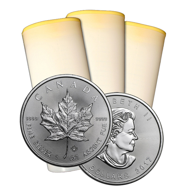 2017 1 oz Canadian Silver Maple Leaf Roll Of 25 Coins