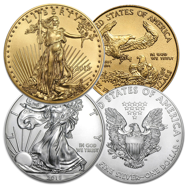 2018 American Coin Set 1 oz Silver Eagle & 1/10th oz Gold Eagle