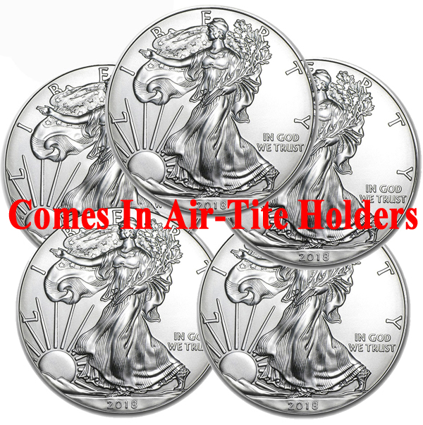 Lot of 5 - 2018 1 oz American Silver Eagle Coins BU - AIR-TITE