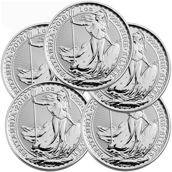 Lot of 5 - 2018 1 oz Silver Britannia Coin BU