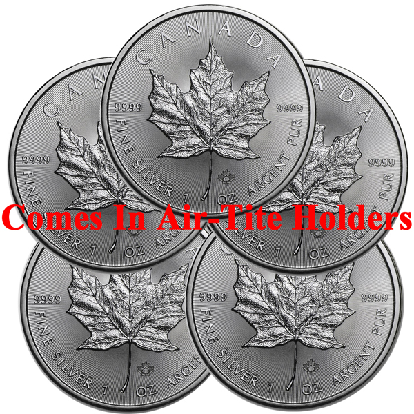Lot of 5 - 2018 1 oz Canadian Silver Maple Leaf Coin BU AIR-TITE