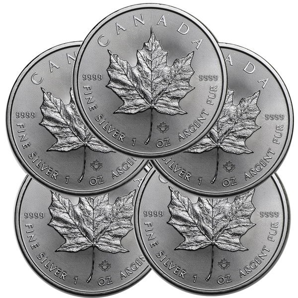 Lot of 5 - 2018 1 oz Canadian Silver Maple Leaf Coin 9999 Silver