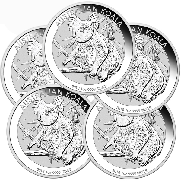 Lot of 5 - 2018 1 oz Silver Australian Koala Coin BU