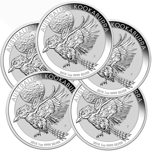 Lot of 5 - 2018 1 oz Silver Australian Kookaburra BU