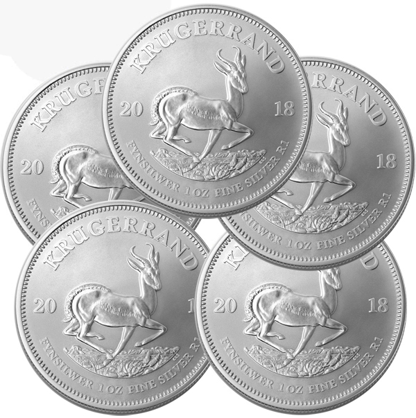 Lot of 5 - 2018 South Africa 1 oz Silver Krugerrand BU