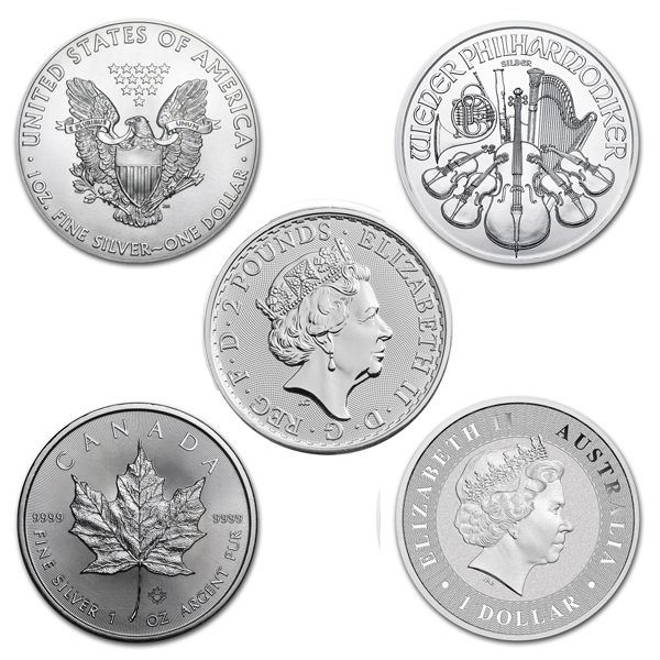 lot of 5 2018 1 oz silver coins from around the world bu