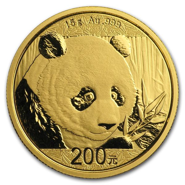2018 15 Grams Chinese Gold Panda Coin 200 Yuan BU Sealed
