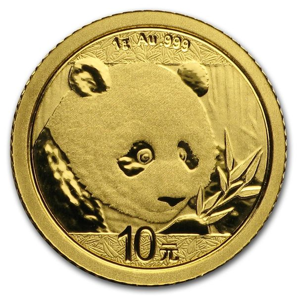 2018 1 Grams Chinese Gold Panda Coin 10 Yuan BU Sealed