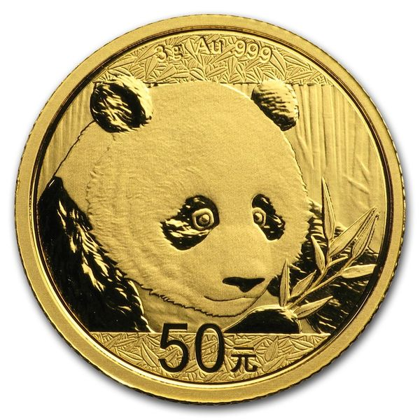 2018 3 Grams Chinese Gold Panda Coin 50 Yuan BU Sealed