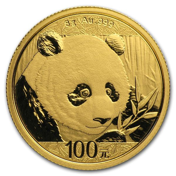 2018 8 Grams Chinese Gold Panda Coin 100 Yuan BU Sealed