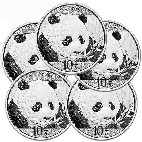 Lot of 5 - 2018 30 Gram Silver Chinese Panda Coin In Capsule