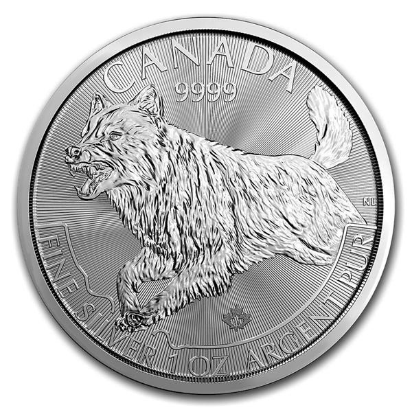 Lot of 5-2018 $5 1oz Silver Canadian Wolf .9999 BU