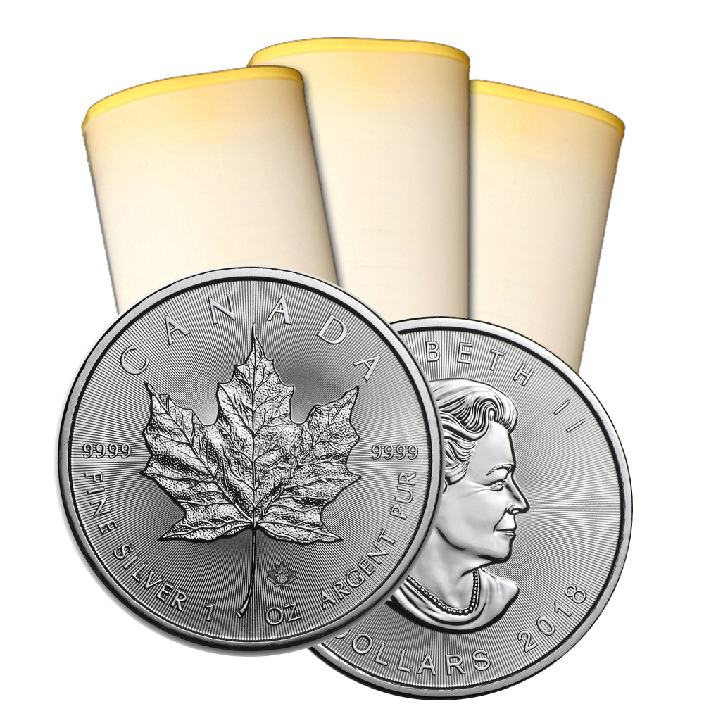 2018 1 oz Canadian Silver Maple Leaf Roll Of 25 Coins