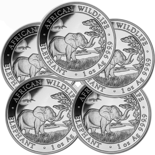 Lot of 5 - 2019 1 oz Silver Somalian African Elephant Coin BU