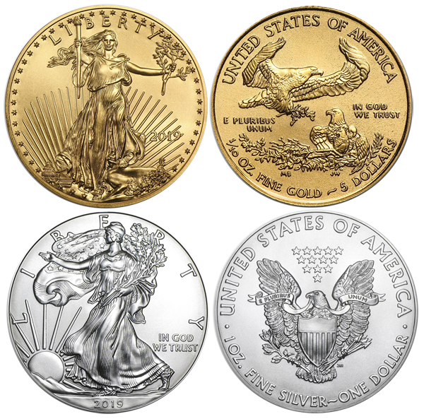 2019 American Coin Set 1 oz Silver Eagle & 1/10th oz Gold Eagle