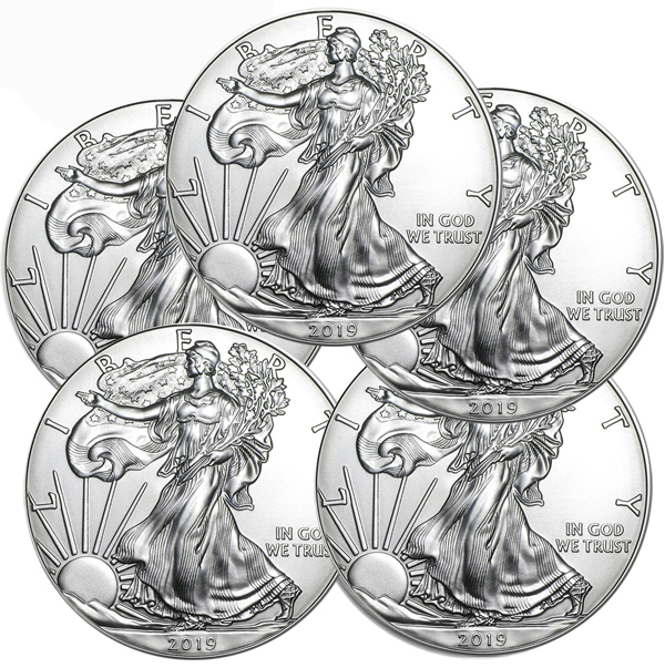 Lot of 5 - 2019 1 oz American Silver Eagle Coins BU
