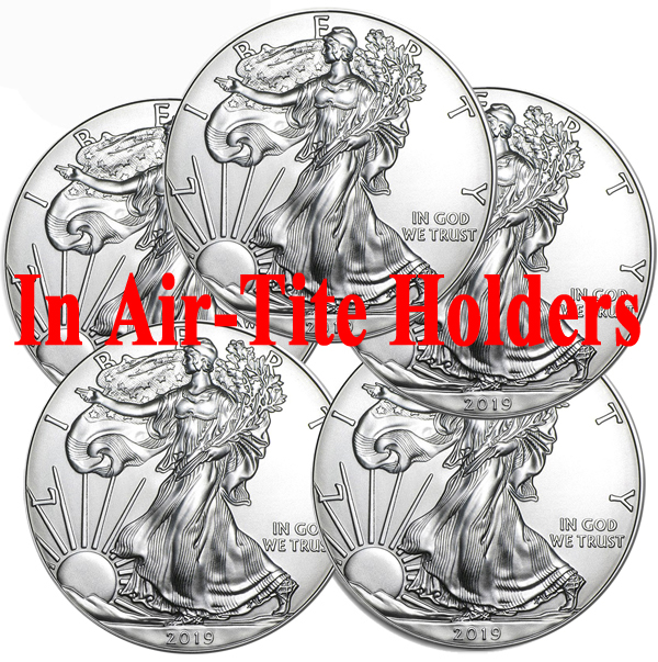 Lot of 5 - 2019 1 oz American Silver Eagle Coins BU - AIR-TITE
