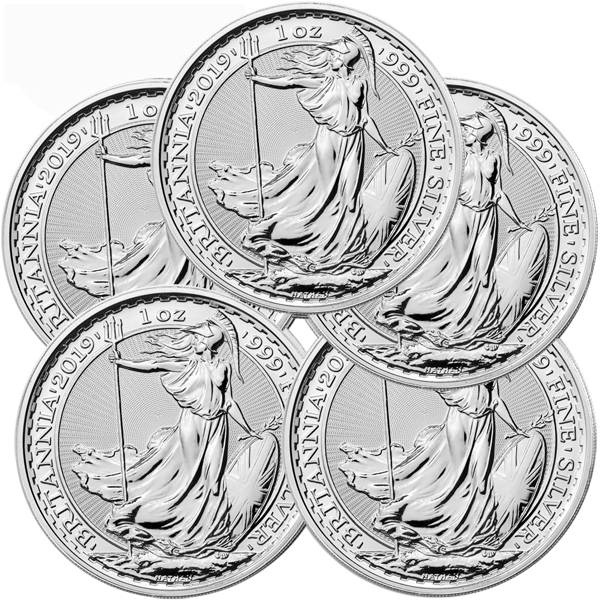 Lot of 5 - 2019 1 oz Silver Britannia Coin BU
