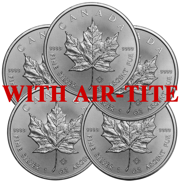 Lot of 5 - 2019 1 oz Canadian Silver Maple Leaf Coin BU AIR-TITE