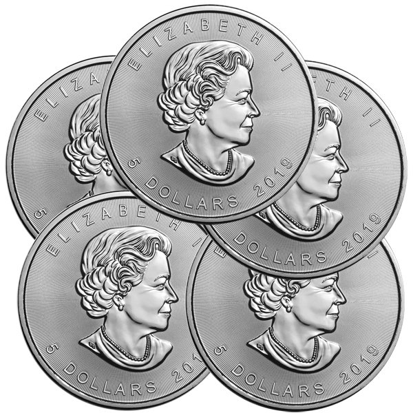 Lot of 5 - 2019 1 oz Canadian Silver Maple Leaf Coin 9999 Silver