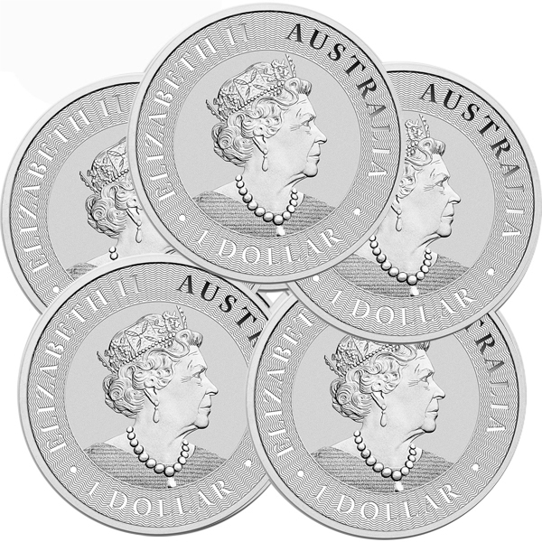 Lot of 5 - 2019 1 oz Silver Australian Kangaroo Coin BU