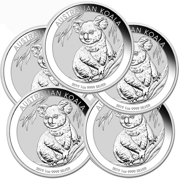 Lot of 5 - 2019 1 oz Silver Australian Koala Coin BU