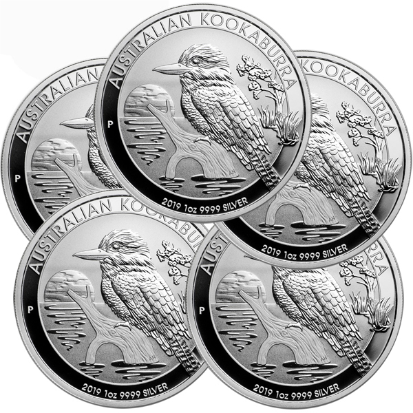 Lot of 5 - 2019 1 oz Silver Australian Kookaburra BU