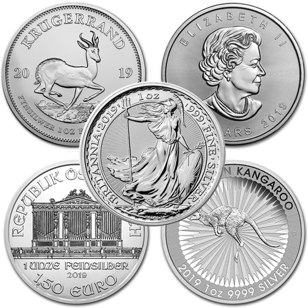 Lot of 5 - 2019 1 oz Silver Coins From Around The World BU