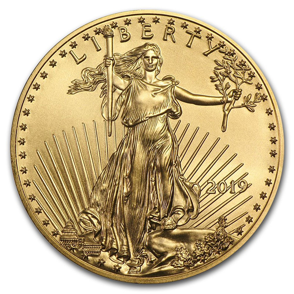 2019 1/2 Oz Ounce American Gold Eagle Coin BU