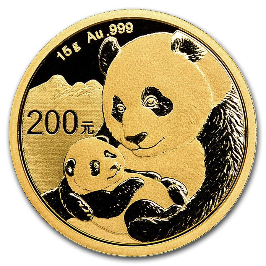 2019 15 Grams Chinese Gold Panda Coin 200 Yuan BU Sealed