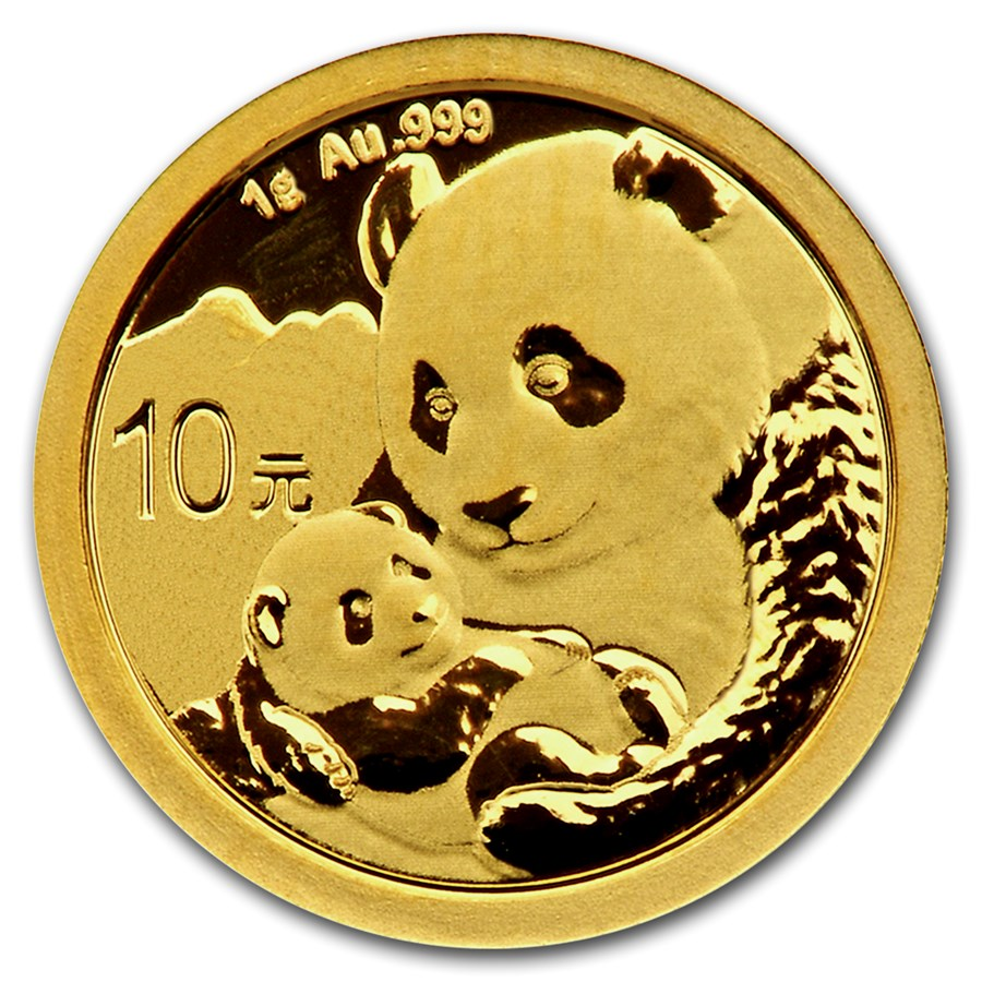 2019 1 Grams Chinese Gold Panda Coin 10 Yuan BU Sealed