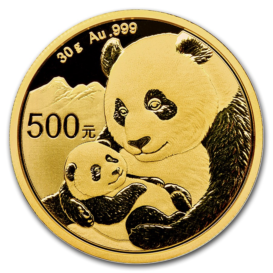 2019 30 Grams Chinese Gold Panda Coin 500 Yuan BU Sealed