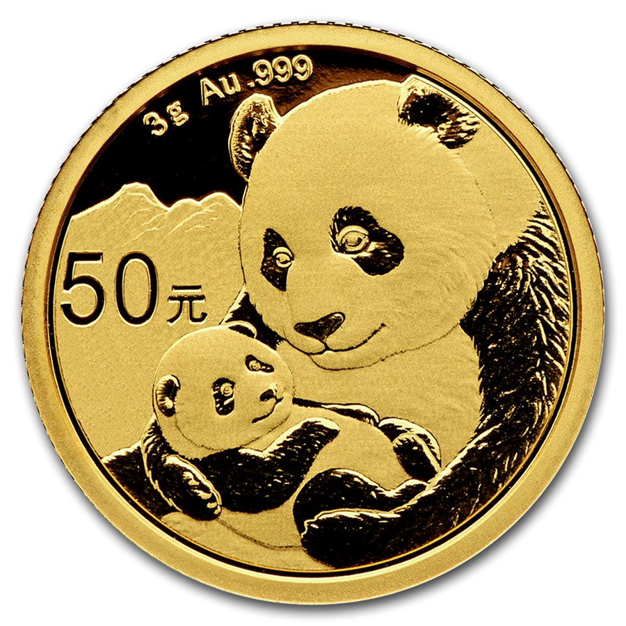 2019 3 Grams Chinese Gold Panda Coin 50 Yuan BU Sealed