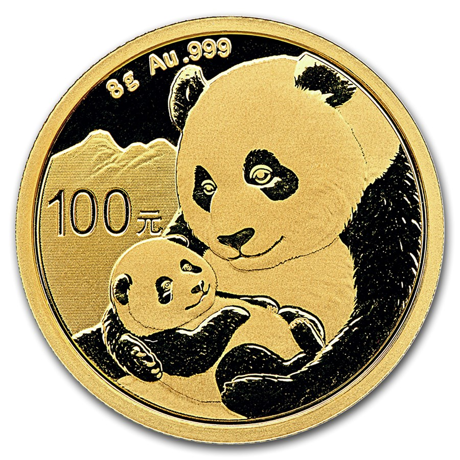 2019 8 Grams Chinese Gold Panda Coin 100 Yuan BU Sealed