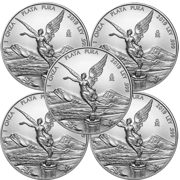 Lot of 5 - 2019 1 oz Mexican Silver Libertad Coin BU