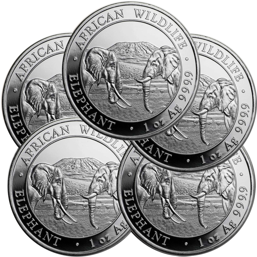 Lot of 5 - 2020 1 oz Silver Somalian African Elephant Coin BU