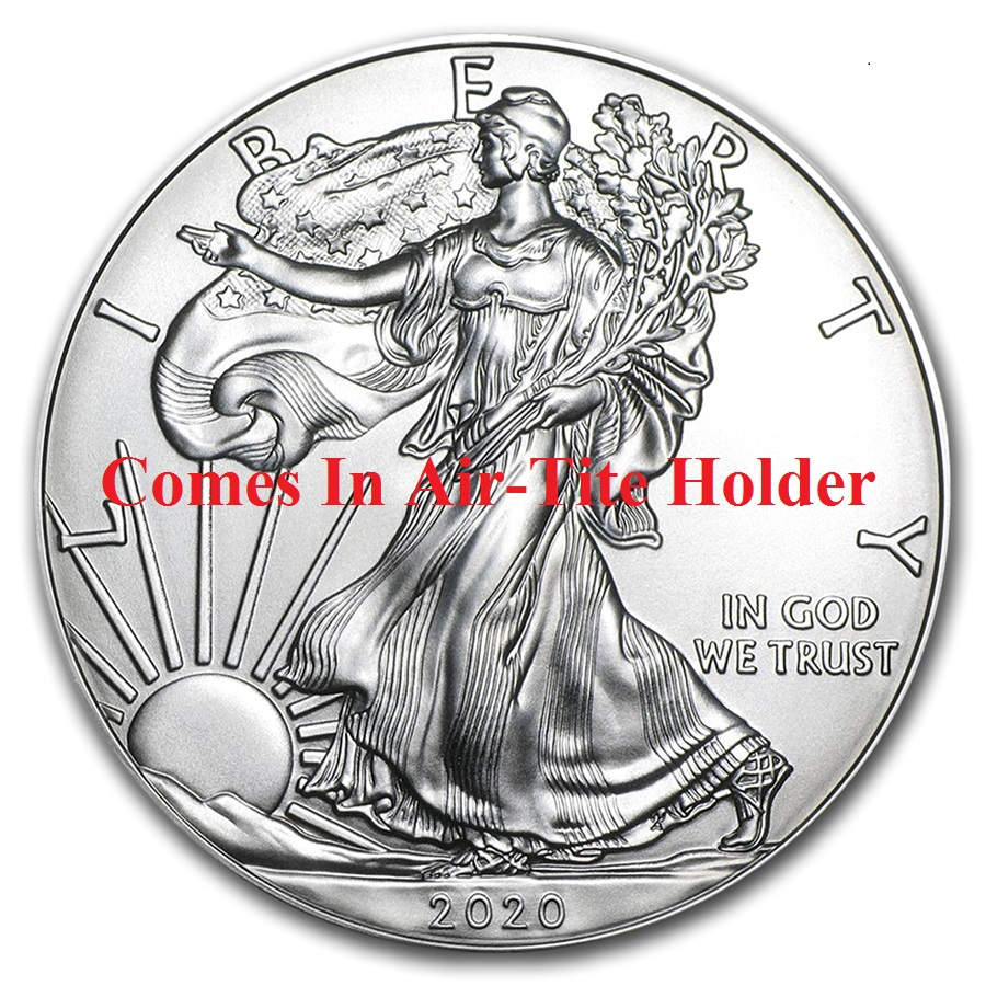 2020 1 oz American Silver Eagle Coin BU - AIR-TITE HOLDER
