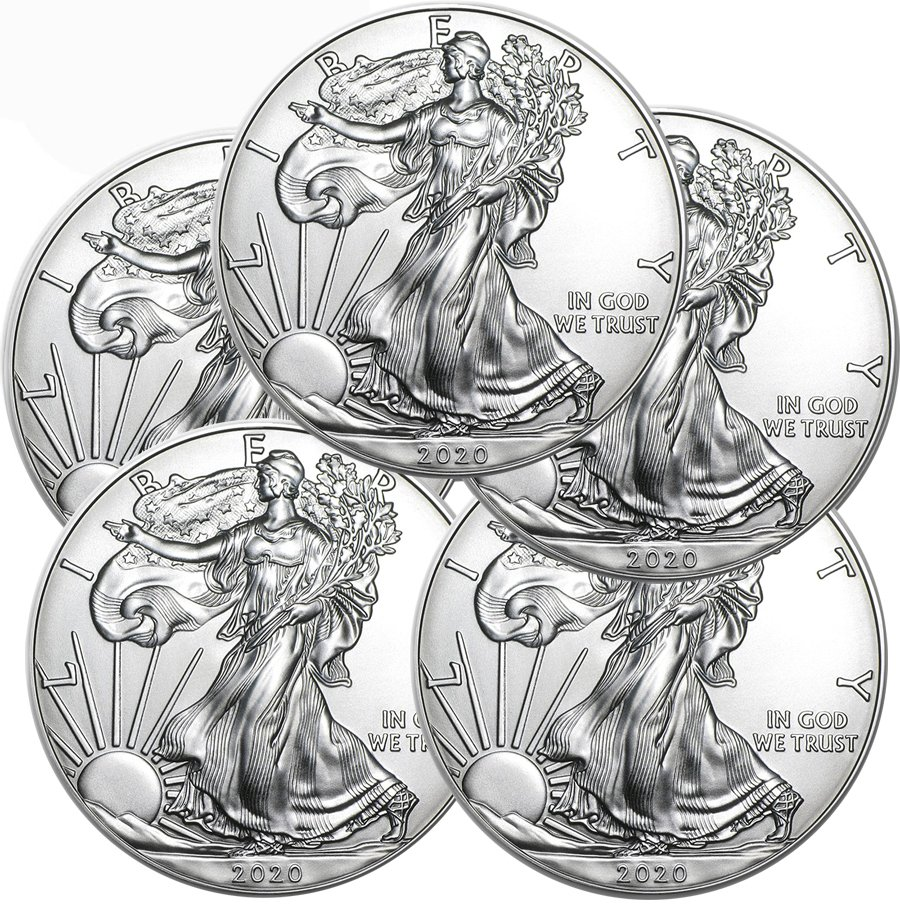 Lot of 5 - 2020 1 oz American Silver Eagle Coins BU - AIR-TITE