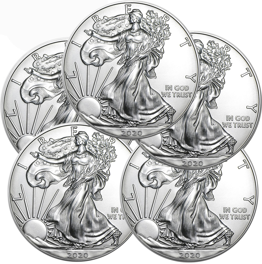 Lot of 5 - 2020 1 oz American Silver Eagle Coins BU