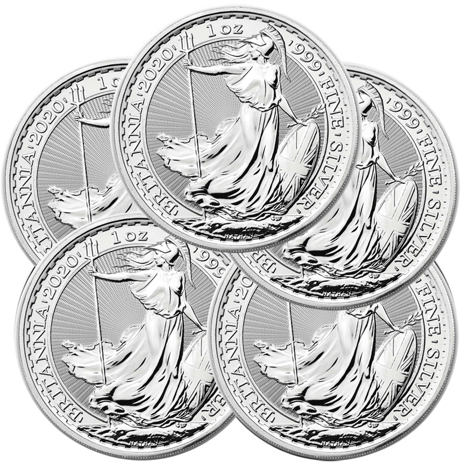 Lot of 5 - 2020 1 oz Silver Britannia Coin BU