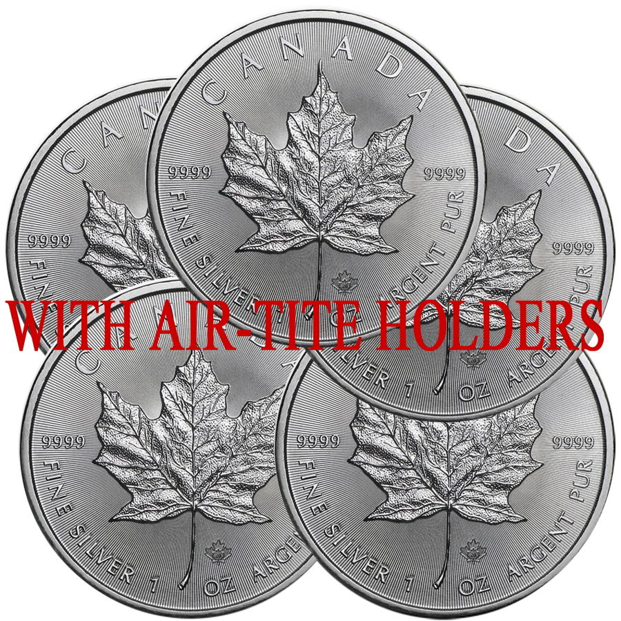Lot of 5 - 2020 1 oz Canadian Silver Maple Leaf Coin BU AIR-TITE