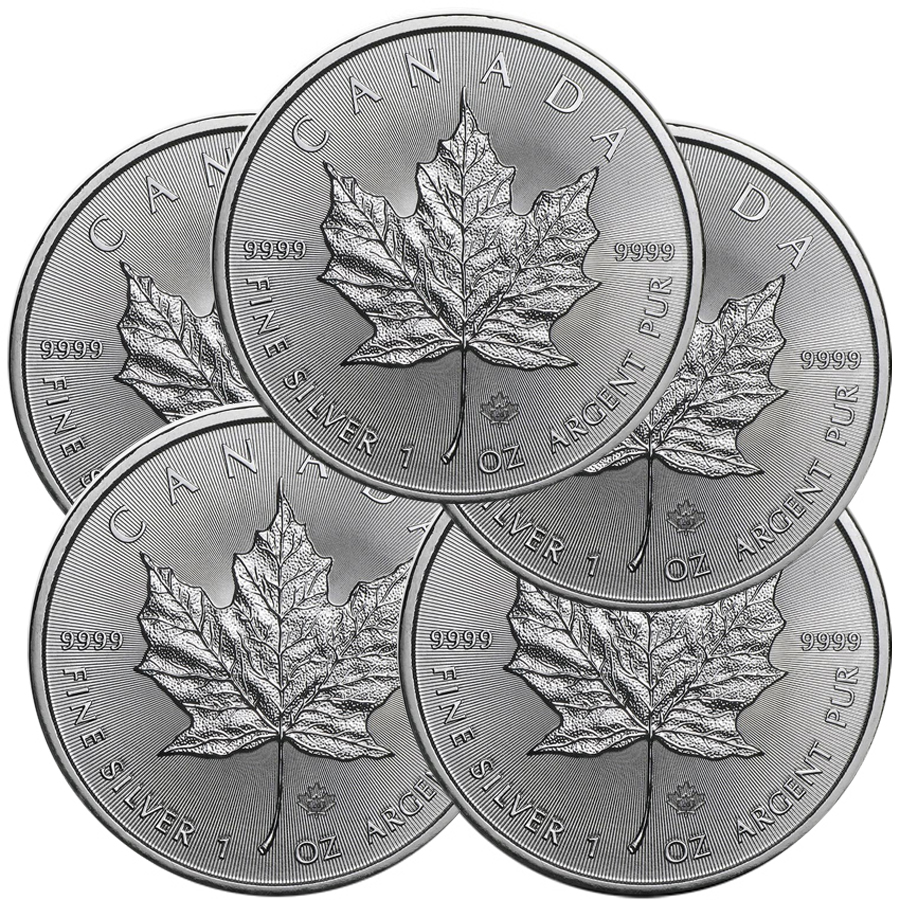 Lot of 5 - 2020 1 oz Canadian Silver Maple Leaf Coin 9999 Silver